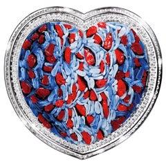Stylish Ring White Gold White Diamonds Hand Decorated with Micro Mosaic