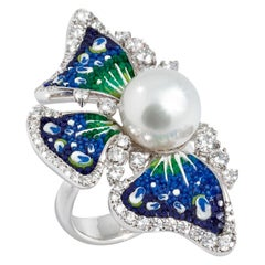 Stylish Ring White Gold White Diamonds Pearl Hand Decorated with Micro Mosaic