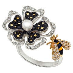 Stylish Ring White Gold White Diamonds Pearl Hand Decorated with Nano Mosaic