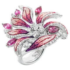 Stylish Ring White Gold White Diamonds Rubelite Hand Decorated with Micro Mosaic