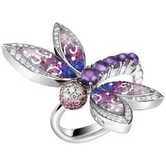 Stylish Ring White Gold White Diamonds Sapphires Amethyst Decorated Micro Mosaic