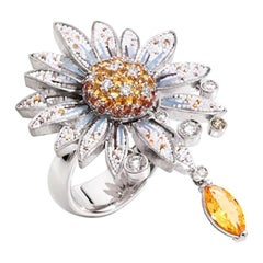 Stylish Ring White Gold White Diamonds Sapphires Hand Decorated with Micromosaic
