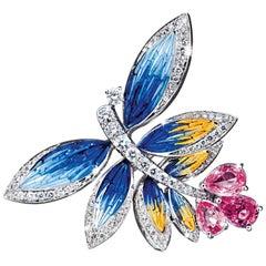 Stylish Ring White Gold White Diamonds Sapphires HandDecorated with Micro Mosaic