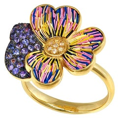 Stylish Ring Yellow Gold Yellow and Pink Sapphires Handdecorated with NanoMosaic