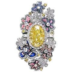 Stylish Rings Detachable Yellow & White Diamonds Emeralds White Gold Micromosaic