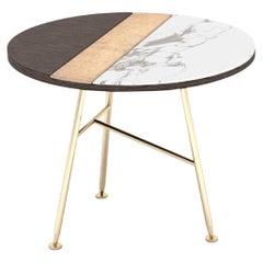 Stylish Round Side Table Gray Oak Art Glass Champagne Satined Finishing