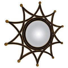Stylish Round Starburst Mirror in Black & Gold