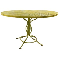 Stylish Round Wrought Iron and Metal Mesh Garden Patio Table by Woodard