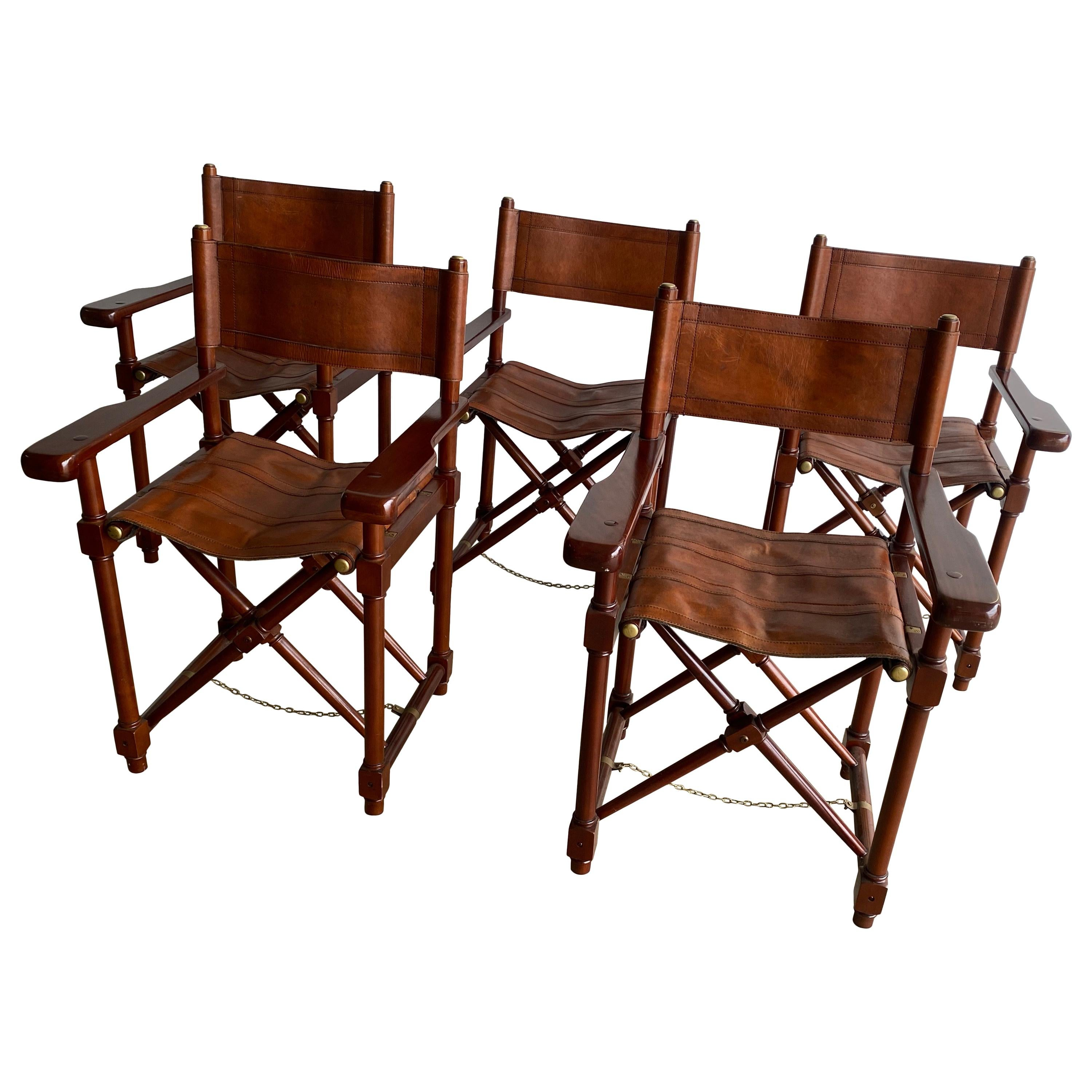 Stylish Set of 5 Dressed Saddle Leather Foldable Director or Campaign Chairs