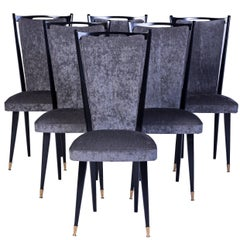 Stylish Set of Six Art Deco Dining Chairs