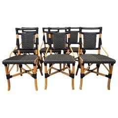 Stylish Set of Palecek Bamboo Wicker & Rattan Bistro Dining Chairs