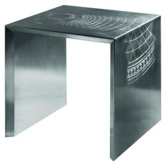Stylish Side Table in Satin Stainless Steel with Decorative Engravings