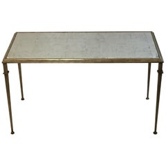 Stylish Silver Leaf and Antique Mirror Lillian August Coffee Cocktail Table