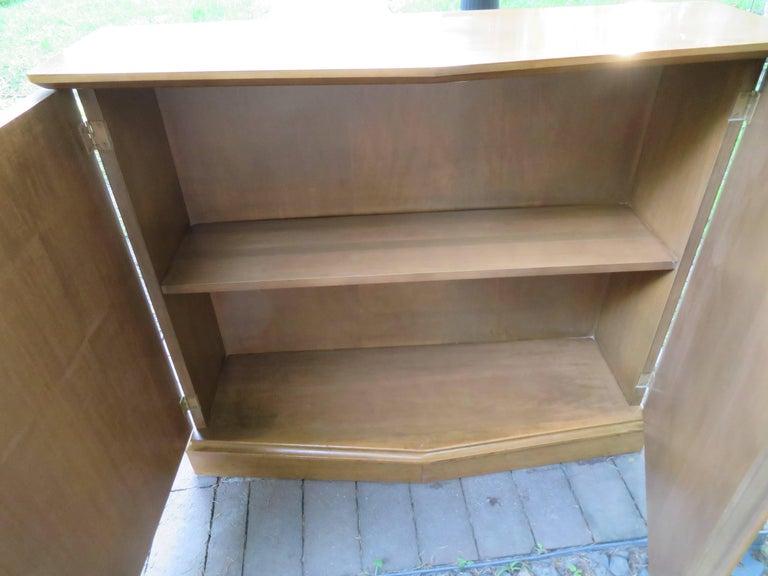 Stylish Slim Harvey Probber Style Midcentury Trefoil Design Console Cabinet For Sale 3