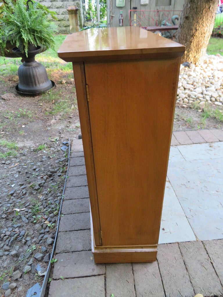 Mahogany Stylish Slim Harvey Probber Style Midcentury Trefoil Design Console Cabinet For Sale