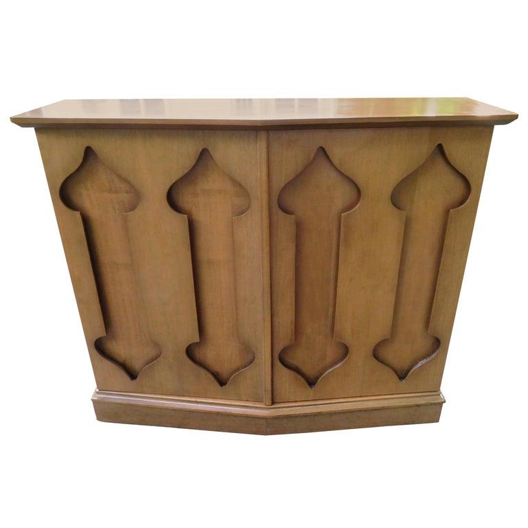 Stylish Slim Harvey Probber Style Midcentury Trefoil Design Console Cabinet For Sale