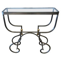 Stylish Small Rectangular Steel and Brass Console Table