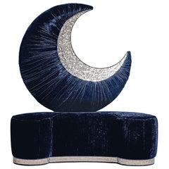 Stylish Sofa Solid Timber Plywood Decorative Moon on Bach Mosaic Insert Velvet