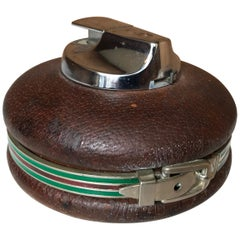 Stylish Spherical Leather Gucci Lighter, Made in Italy, 1980s