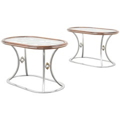 Stylish Steel and Brass Side Tables by Alain Delon for Maison Jansen