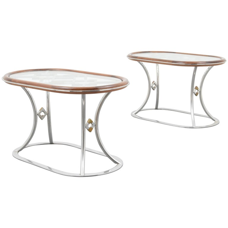 Stylish Steel and Brass Side Tables by Alain Delon for Maison Jansen For Sale