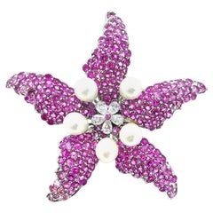 Stylish Sterling, Pink Starfish, Pendant or Broach