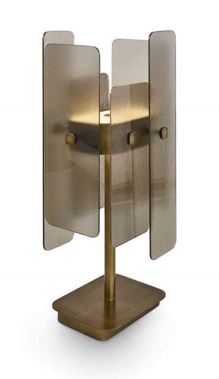 Modern Stylish Table Lamp Brass Frame Antique Bronze or Champagne Finish D For Sale