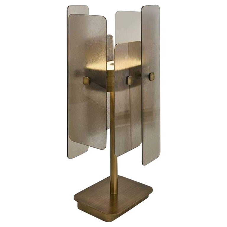 Stylish Table Lamp Brass Frame Antique Bronze or Champagne Finish D For Sale