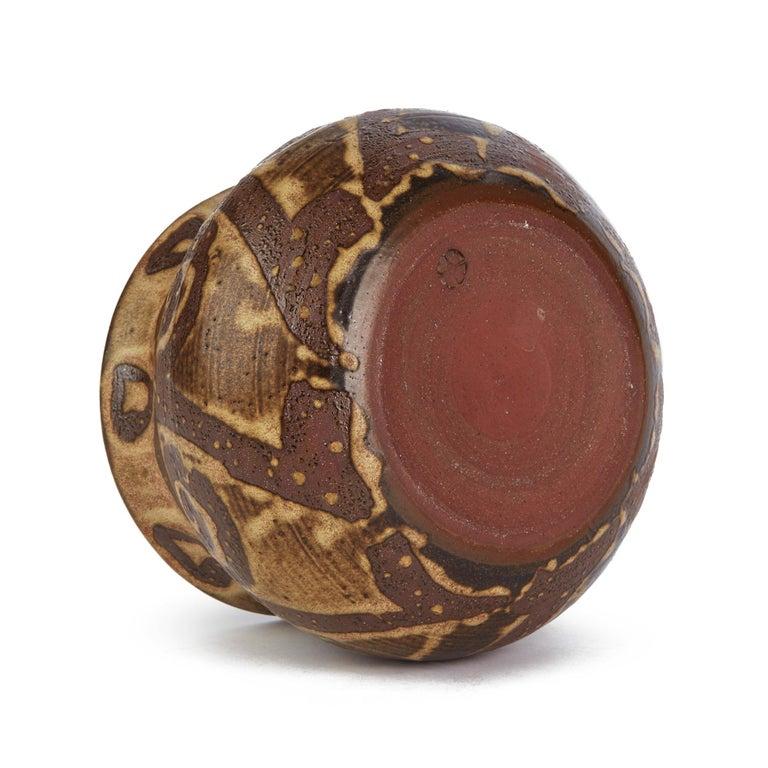 Mid-20th Century Stylish Tenmoku Glazed Pattern Studio Pottery Bowl Signed, 20th Century For Sale