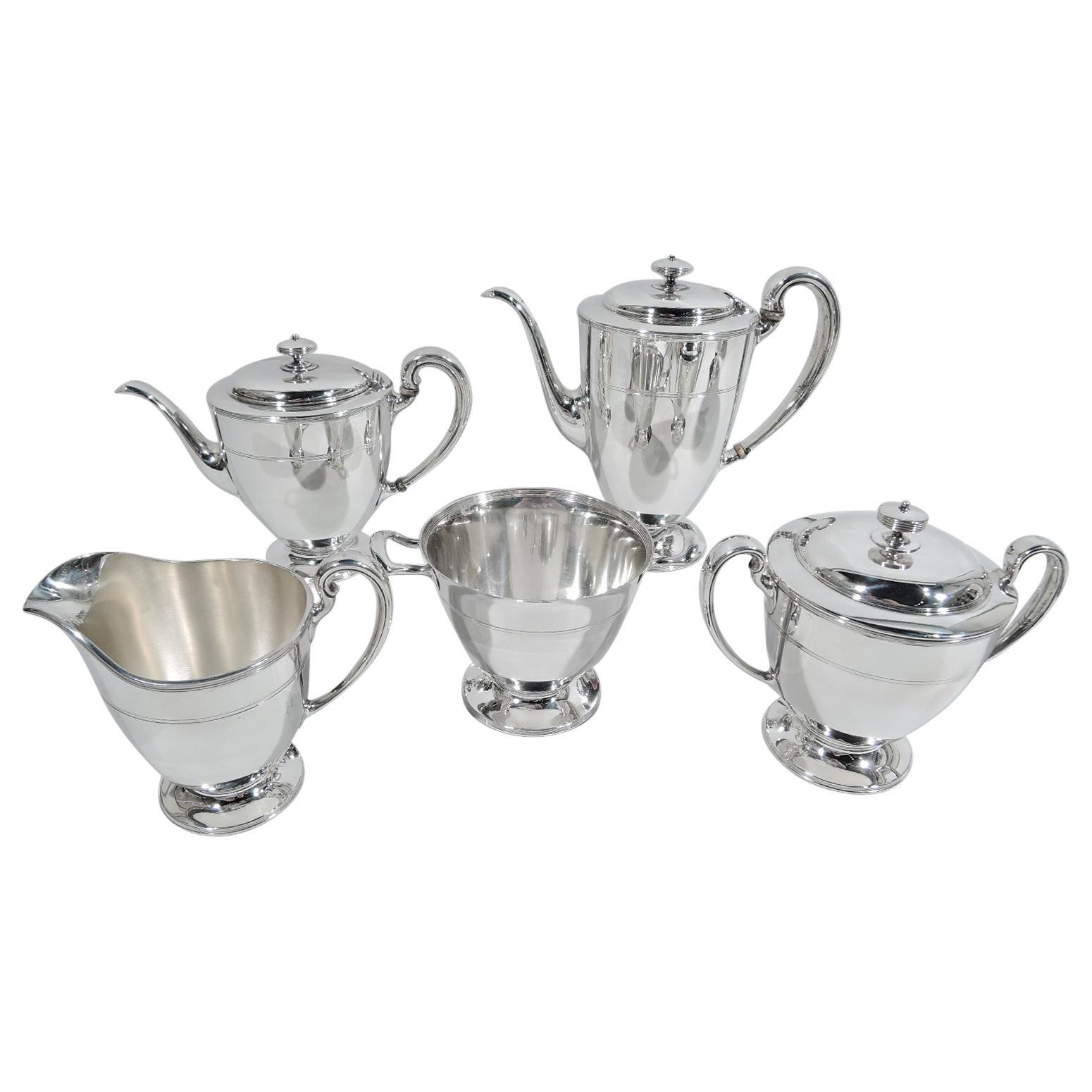Stylish Tiffany Edwardian Modern Sterling Silver Coffee & Tea Set