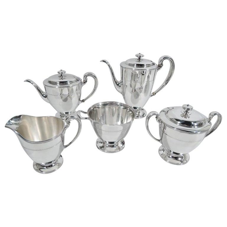 Stylish Tiffany Edwardian Modern Sterling Silver Coffee & Tea Set For Sale