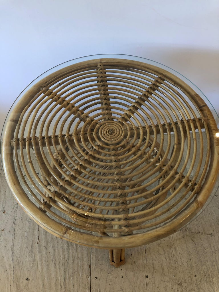 American Stylish Versatile Bamboo Rattan 2-Tier Round Side End or Drinks Table For Sale