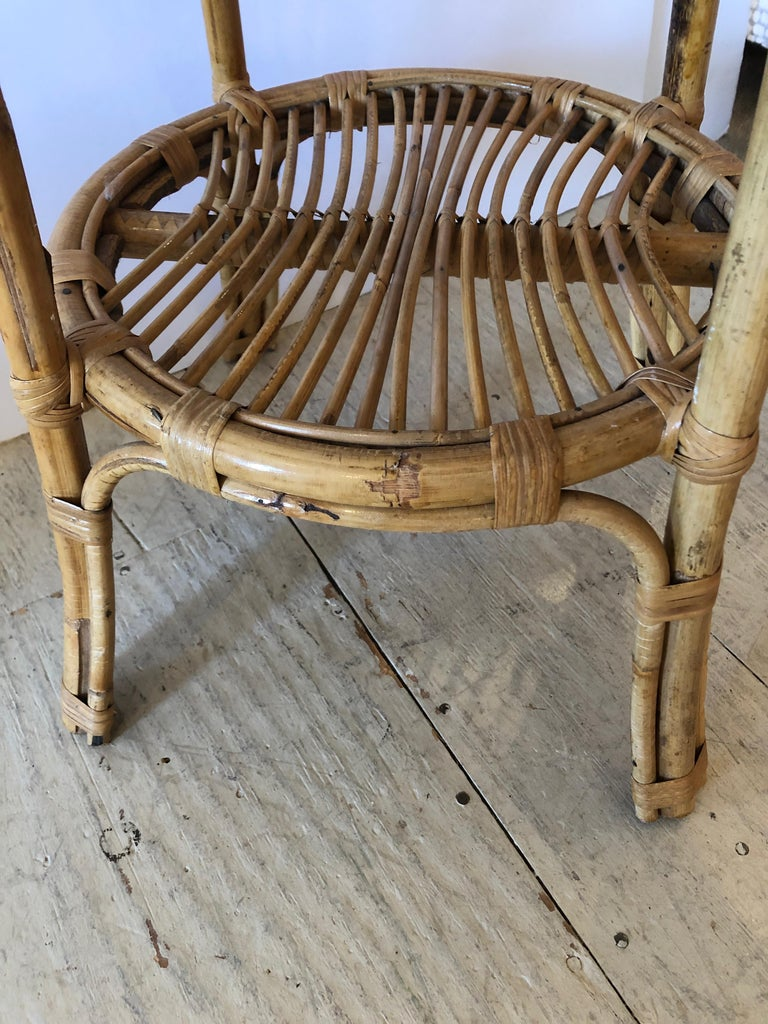 Mid-20th Century Stylish Versatile Bamboo Rattan 2-Tier Round Side End or Drinks Table For Sale