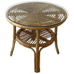 Stylish Versatile Bamboo Rattan 2-Tier Round Side End or Drinks Table