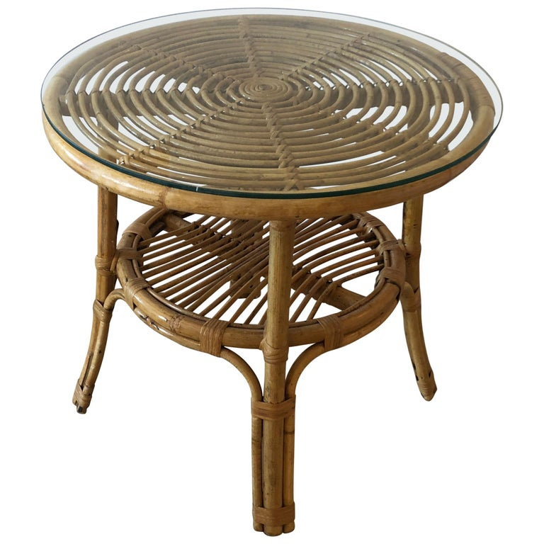 Stylish Versatile Bamboo Rattan 2-Tier Round Side End or Drinks Table For Sale