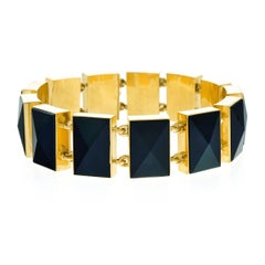 Stylish Victorian Onyx and Gold Bracelet
