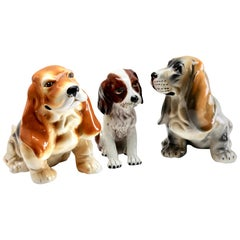 Stylish Vintage Painted Terracotta Basset Hound Fabricated in Italy, 1960s