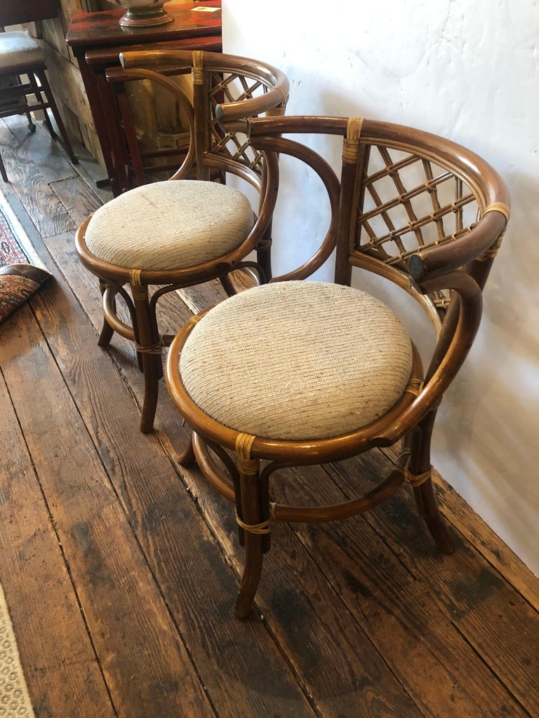 Stylish Vintage Rattan & Bamboo Set of Console Table & Two Side Chairs For Sale 5