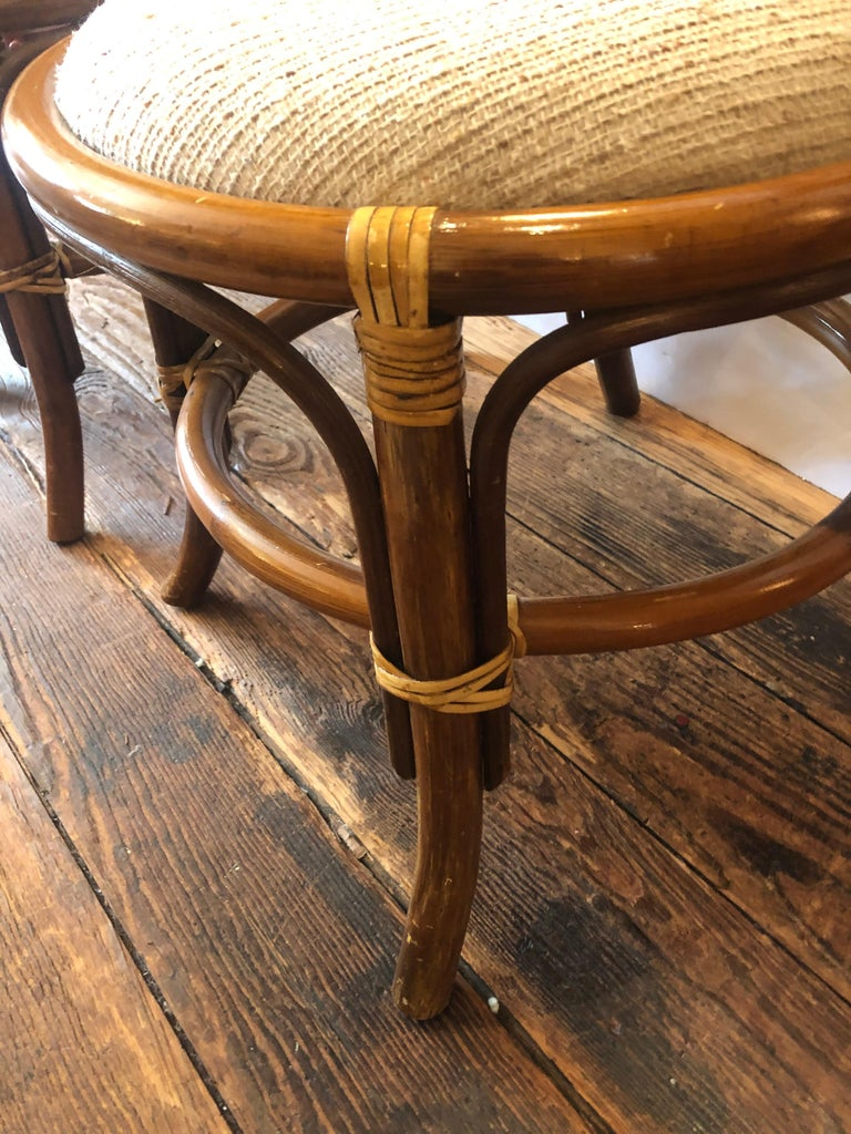 Stylish Vintage Rattan & Bamboo Set of Console Table & Two Side Chairs For Sale 7
