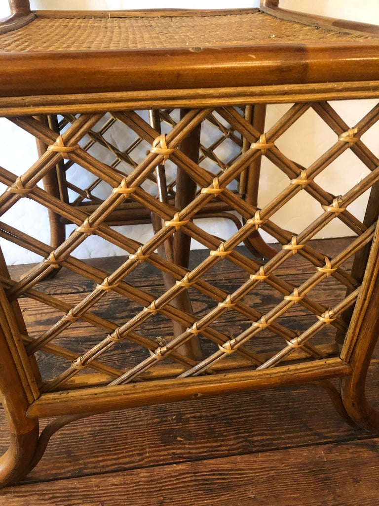 North American Stylish Vintage Rattan & Bamboo Set of Console Table & Two Side Chairs For Sale