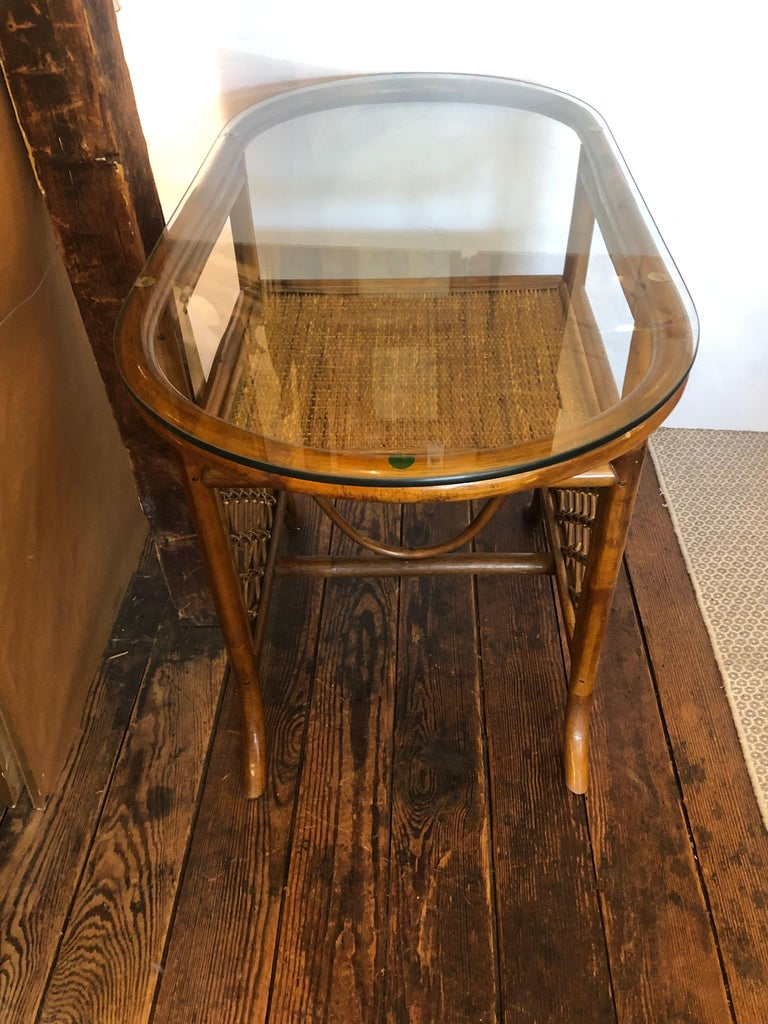 Stylish Vintage Rattan & Bamboo Set of Console Table & Two Side Chairs In Good Condition For Sale In Hopewell, NJ