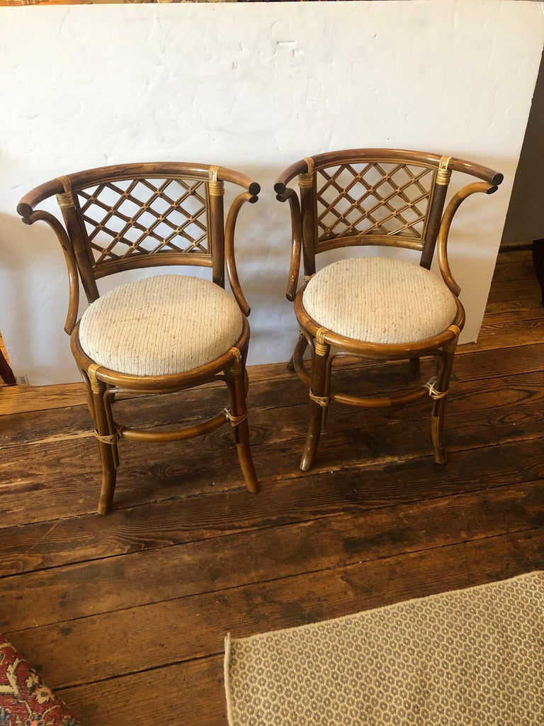 Stylish Vintage Rattan & Bamboo Set of Console Table & Two Side Chairs For Sale 1