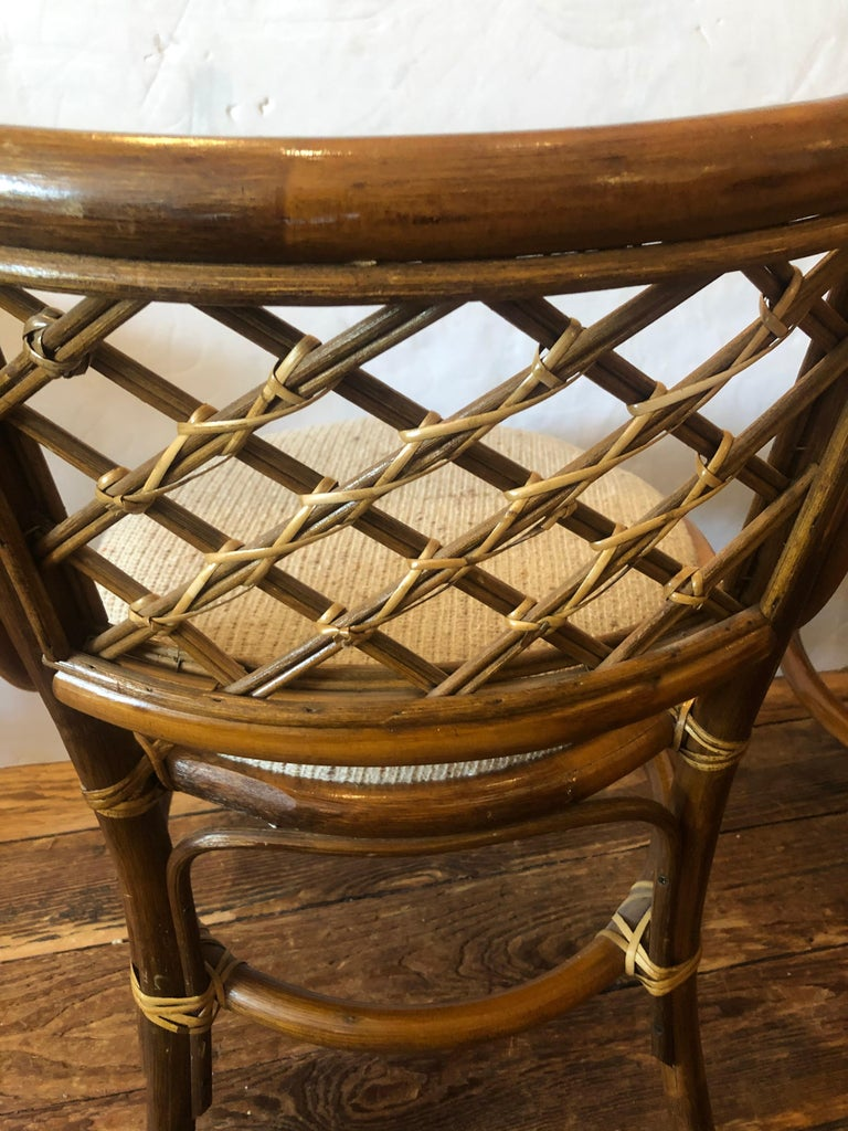 Stylish Vintage Rattan & Bamboo Set of Console Table & Two Side Chairs For Sale 2