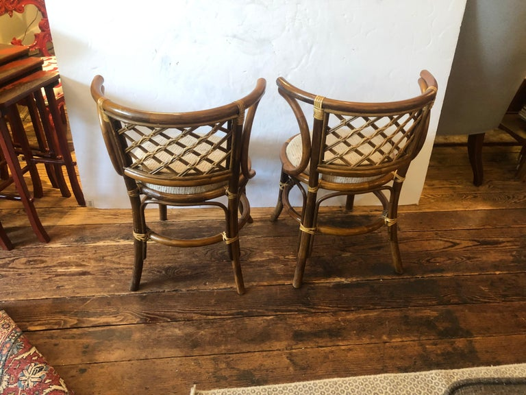 Stylish Vintage Rattan & Bamboo Set of Console Table & Two Side Chairs For Sale 4