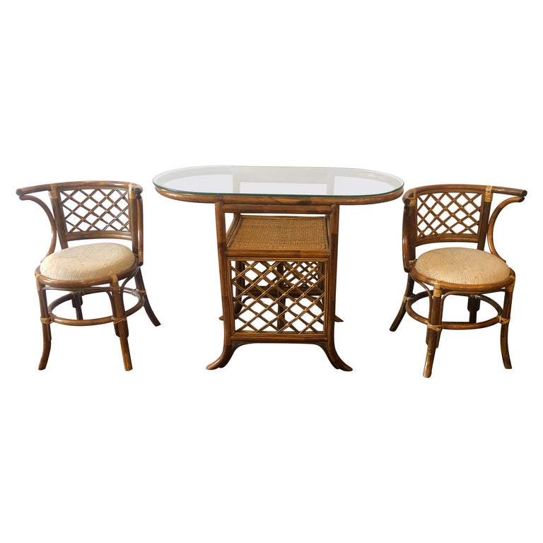 Stylish Vintage Rattan & Bamboo Set of Console Table & Two Side Chairs For Sale