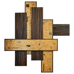 Stylish Wall Art Work Polished or Matt Ebony Gold Leaf Mosaic Customizable