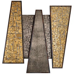 Stylish Wall Art Work Polished or Matt Ebony Mosaic Insert Liquid Metal