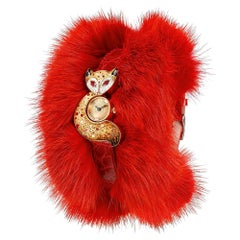 Stylish Watch Gold Ruby Alligator and Fur Strap Hand Decorated with Micro Mosaic