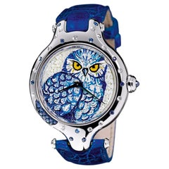 Stylish Watch Gold White Diamonds Blue Sapphires Alligator Strap Micro Mosaic
