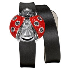 Stylish Watch White Gold Black Diamonds Guilloche Dial Silk Strap Micro Mosaic
